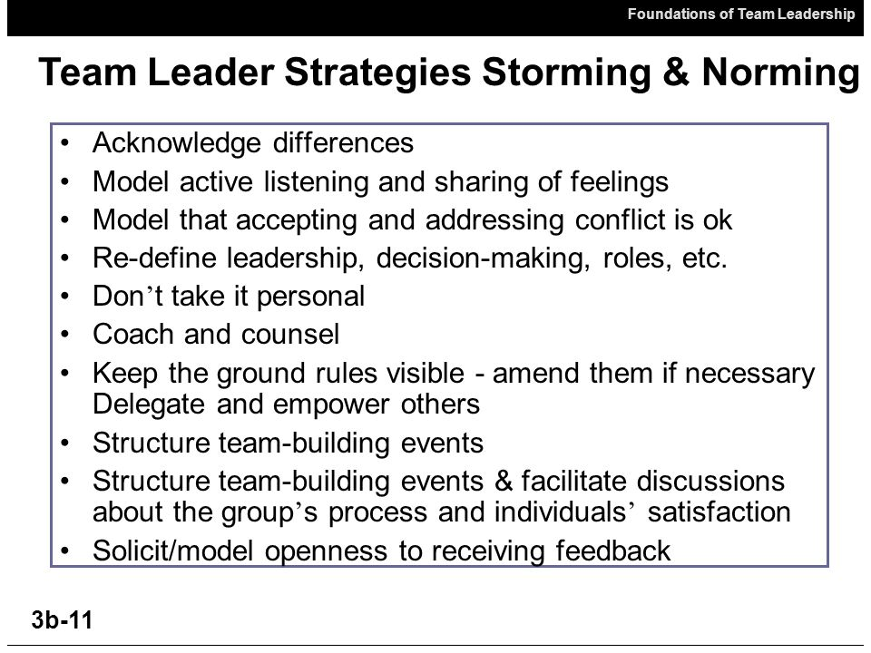 Foundations of Team Leadership 3b-11 Acknowledge differences Model active listening and sharing of feelings Model that accepting and addressing conflict is ok Re-define leadership, decision-making, roles, etc.