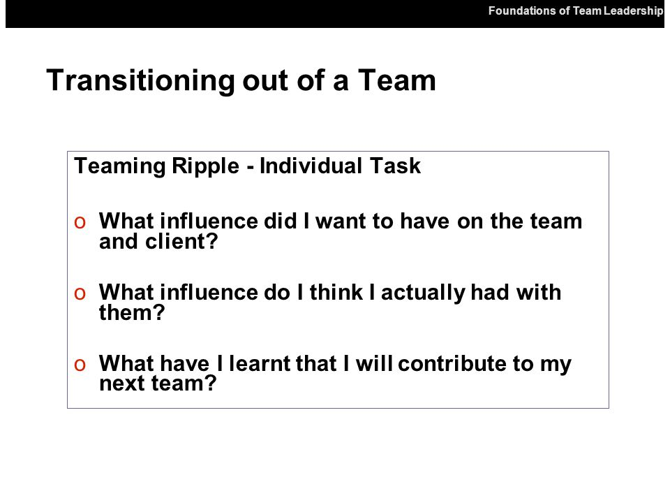 Teaming Ripple - Individual Task oWhat influence did I want to have on the team and client.