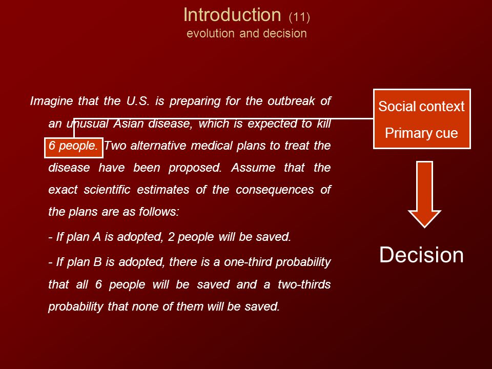 Introduction (11) evolution and decision Social context Primary cue Decision Imagine that the U.S.