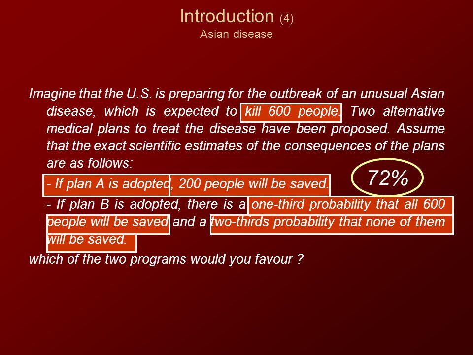 Introduction (4) Asian disease 72% Imagine that the U.S.