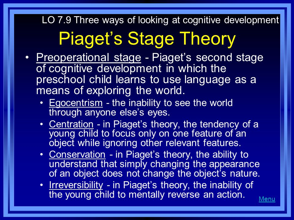 Piaget's Stage Theory Preoperational stage - Piaget's second stage of cognitive development in which the preschool child learns to use language as a means of exploring the world.