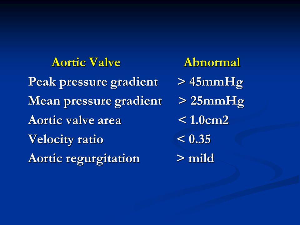Aortic Valve Abnormal Aortic Valve Abnormal Peak pressure gradient > 45mmHg Peak pressure gradient > 45mmHg Mean pressure gradient > 25mmHg Mean pressure gradient > 25mmHg Aortic valve area < 1.0cm2 Aortic valve area < 1.0cm2 Velocity ratio < 0.35 Velocity ratio < 0.35 Aortic regurgitation > mild Aortic regurgitation > mild