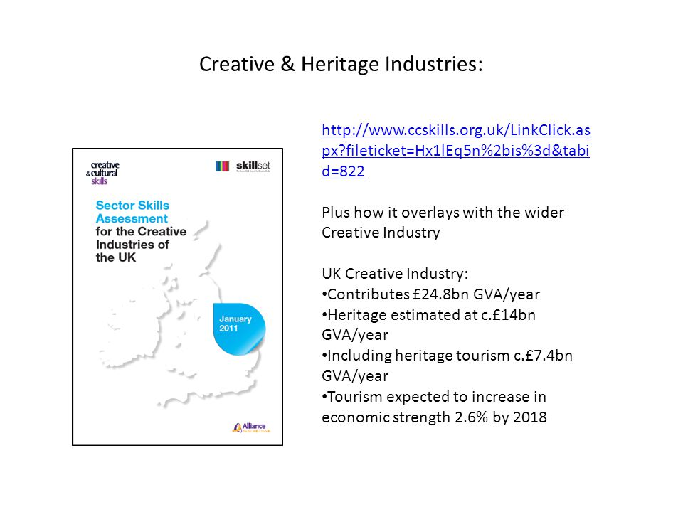 Creative & Heritage Industries: http://www.ccskills.org.uk/LinkClick.as px?fileticket=Hx1lEq5n%2bis%3d&tabi d=822 Plus how it overlays with the wider Creative Industry UK Creative Industry: Contributes £24.8bn GVA/year Heritage estimated at c.£14bn GVA/year Including heritage tourism c.£7.4bn GVA/year Tourism expected to increase in economic strength 2.6% by 2018