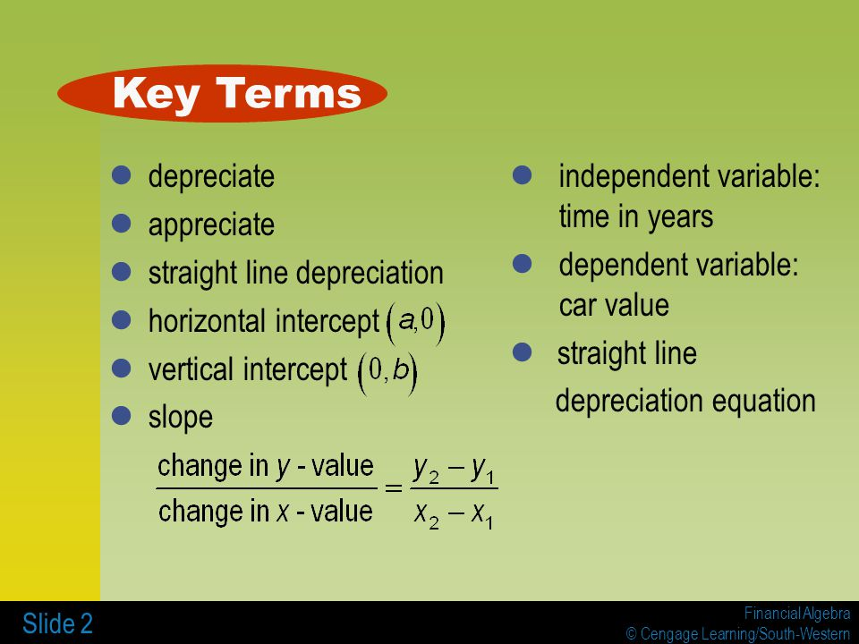 Financial Algebra © Cengage Learning/South-Western Slide 2 depreciate appreciate straight line depreciation horizontal intercept vertical intercept slope Key Terms independent variable: time in years dependent variable: car value straight line depreciation equation