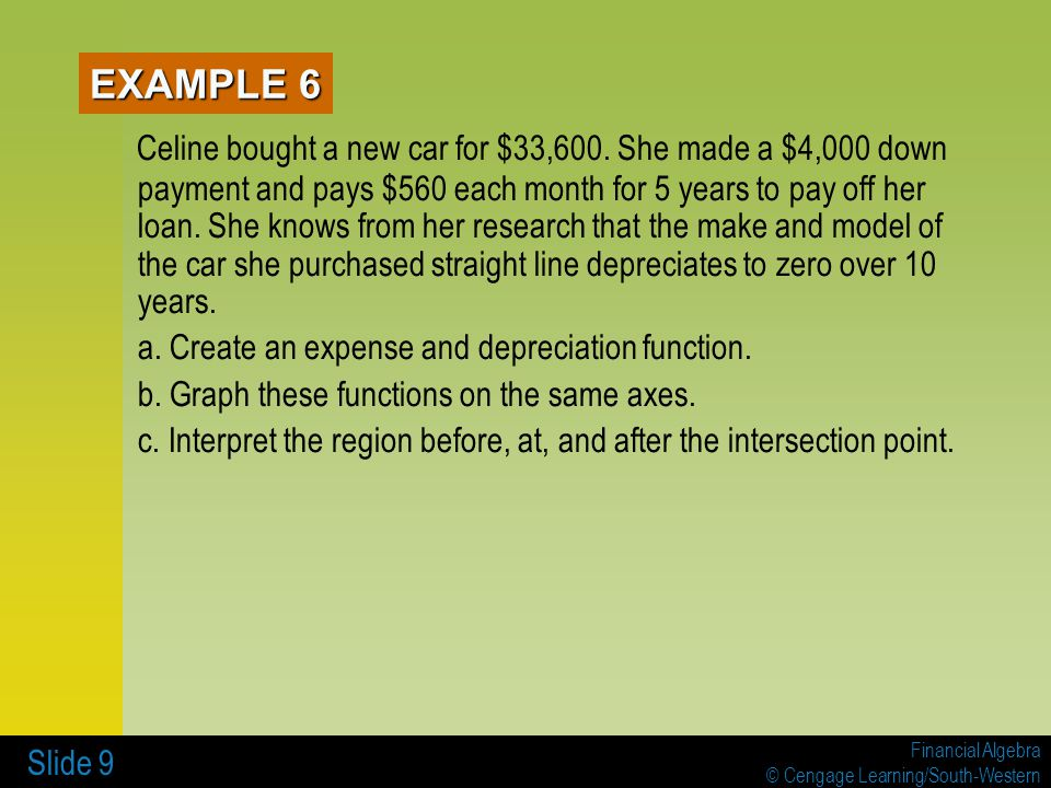 Financial Algebra © Cengage Learning/South-Western Slide 10 How might the expense function be altered so that it reflects a more accurate amount spent over time.