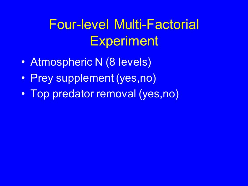 Four-level Multi-Factorial Experiment Atmospheric N (8 levels) Prey supplement (yes,no) Top predator removal (yes,no)