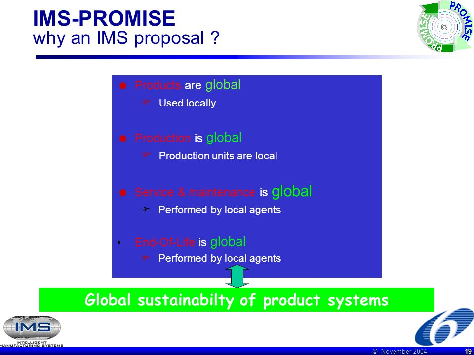 © November 2004 19 IMS-PROMISE why an IMS proposal ?  Products are global  Used locally  Production is global  Production units are local  Servic