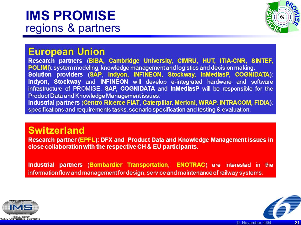 © November 2004 21 IMS PROMISE regions & partners European Union Research partners (BIBA, Cambridge University, CIMRU, HUT, ITIA-CNR, SINTEF, POLIMI): system modeling, knowledge management and logistics and decision making.