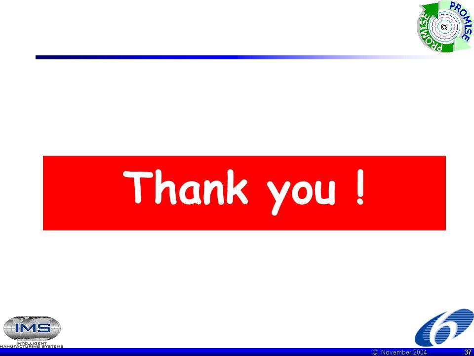 © November 2004 37 Thank you !