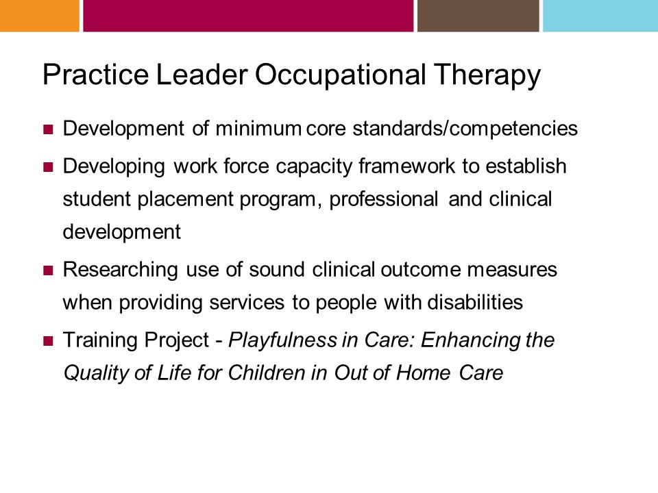 Practice Leader Occupational Therapy Development of minimum core standards/competencies Developing work force capacity framework to establish student placement program, professional and clinical development Researching use of sound clinical outcome measures when providing services to people with disabilities Training Project - Playfulness in Care: Enhancing the Quality of Life for Children in Out of Home Care