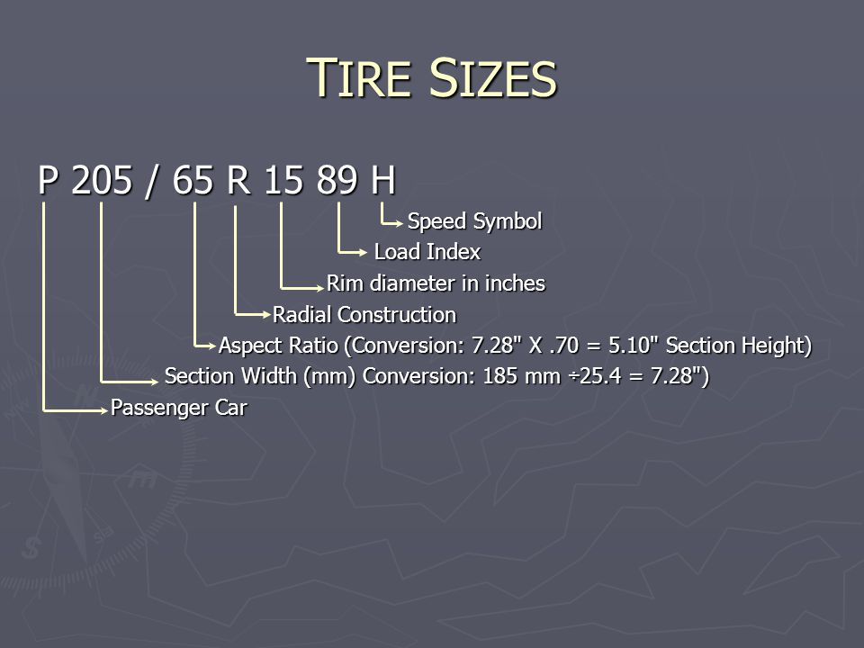T IRE S IZES P 205 / 65 R 15 89 H Speed Symbol Load Index Rim diameter in inches Radial Construction Aspect Ratio (Conversion: 7.28 X.70 = 5.10 Section Height) Section Width (mm) Conversion: 185 mm ÷25.4 = 7.28 ) Passenger Car