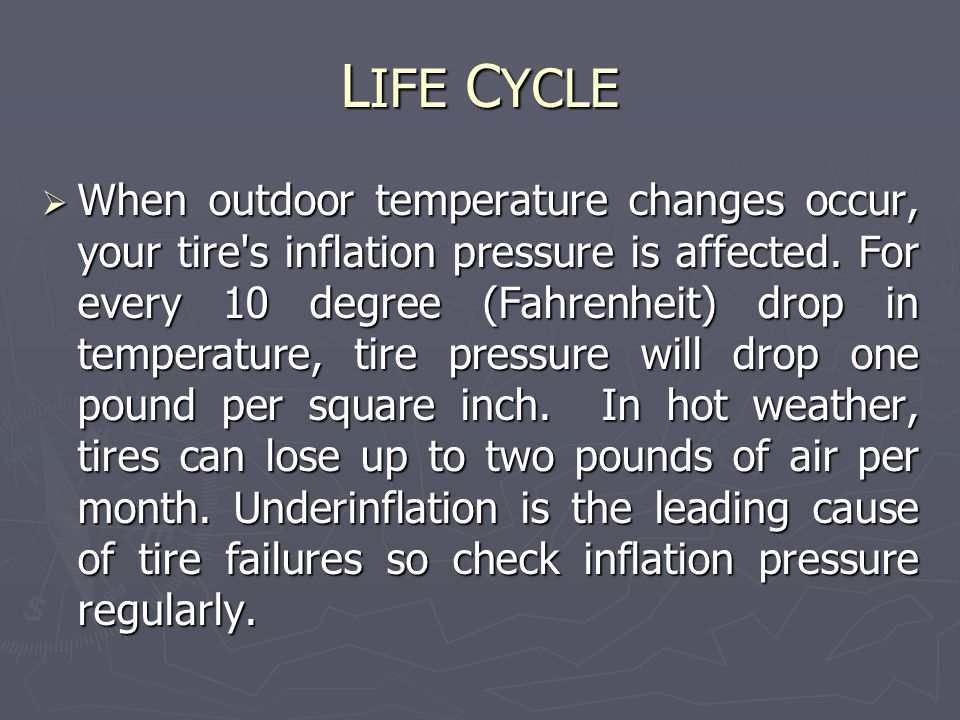 L IFE C YCLE  When outdoor temperature changes occur, your tire s inflation pressure is affected.