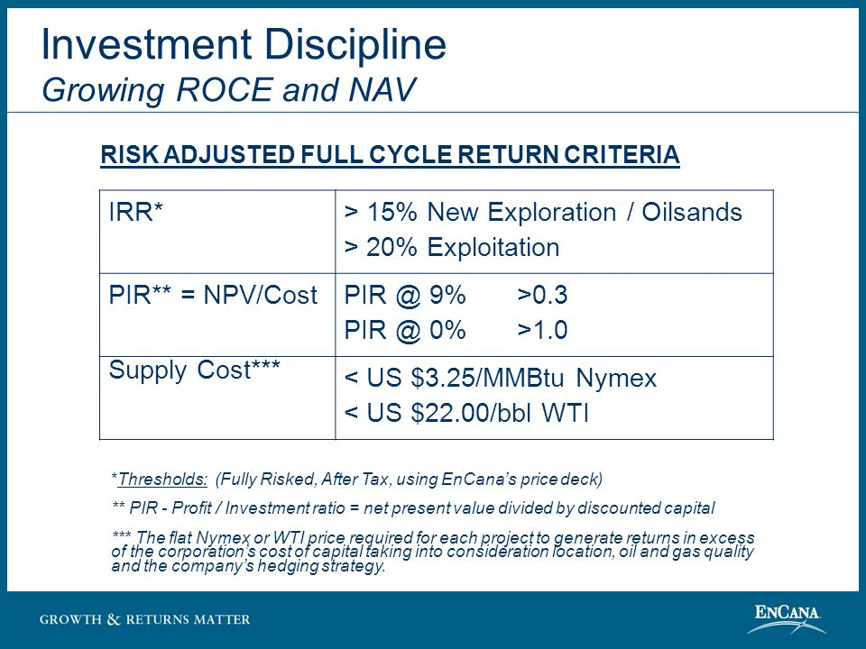 IRR* > 15% New Exploration / Oilsands > 20% Exploitation PIR** = NPV/Cost PIR @ 9%>0.3 PIR @ 0%>1.0 Supply Cost*** < US $3.25/MMBtu Nymex < US $22.00/bbl WTI *Thresholds: (Fully Risked, After Tax, using EnCana's price deck) ** PIR - Profit / Investment ratio = net present value divided by discounted capital *** The flat Nymex or WTI price required for each project to generate returns in excess of the corporation's cost of capital taking into consideration location, oil and gas quality and the company's hedging strategy.