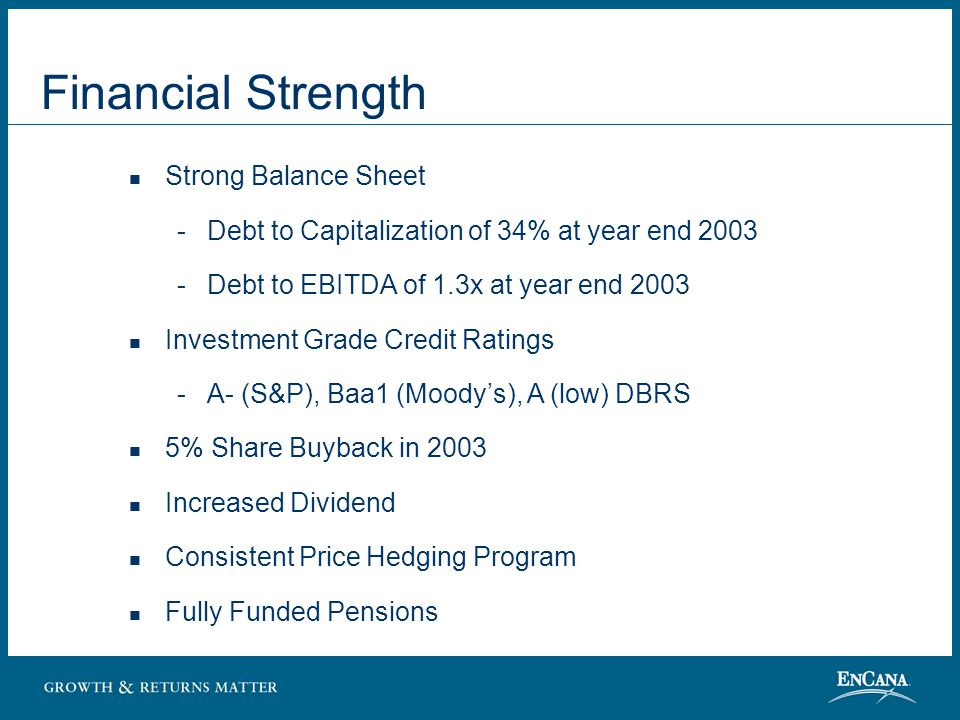 Financial Strength Strong Balance Sheet  Debt to Capitalization of 34% at year end 2003  Debt to EBITDA of 1.3x at year end 2003 Investment Grade Credit Ratings  A- (S&P), Baa1 (Moody's), A (low) DBRS 5% Share Buyback in 2003 Increased Dividend Consistent Price Hedging Program Fully Funded Pensions