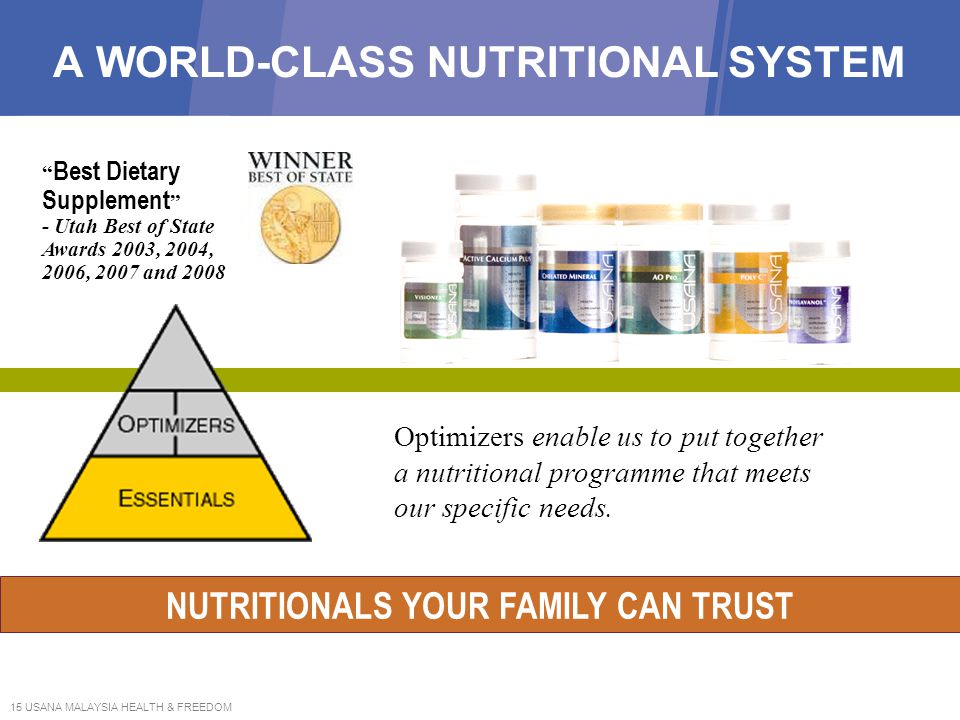 15 USANA MALAYSIA HEALTH & FREEDOM A WORLD-CLASS NUTRITIONAL SYSTEM Optimizers enable us to put together a nutritional programme that meets our specif