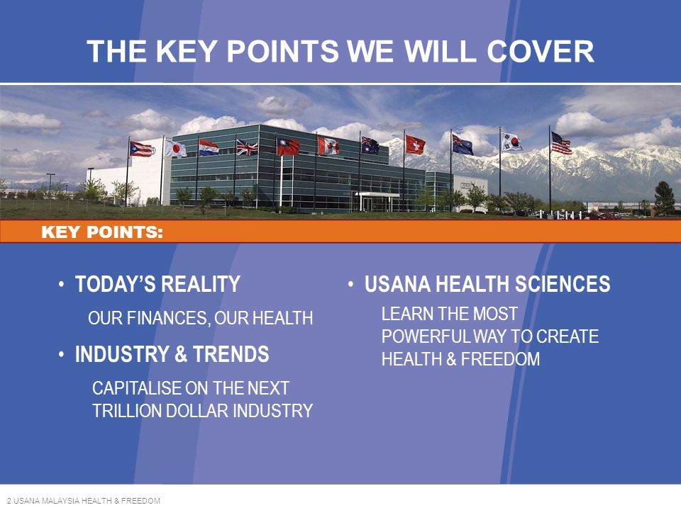 23 USANA MALAYSIA HEALTH & FREEDOM GENERATING INCOME THROUGH ACTIVE BUSINESS CENTRES KEEPING YOUR BUSINESS ACTIVE: *Personal Sales Volume Points are produced through retail sales to your customers.