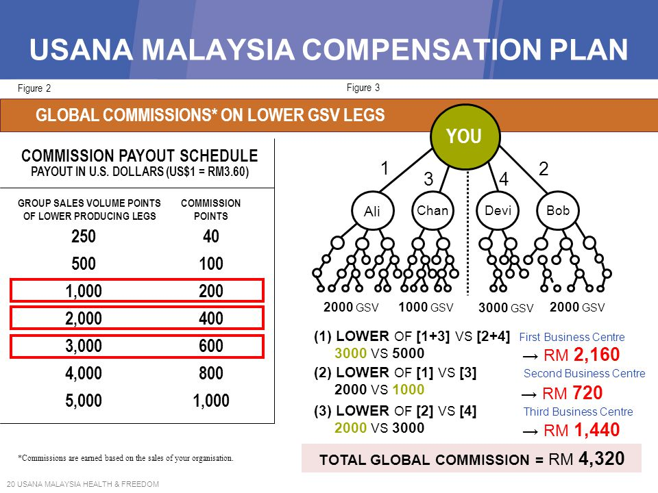 20 USANA MALAYSIA HEALTH & FREEDOM USANA MALAYSIA COMPENSATION PLAN Figure 3 CARRYOVER † GLOBAL COMMISSIONS* ON LOWER GSV LEGS Figure 2 *Commissions a