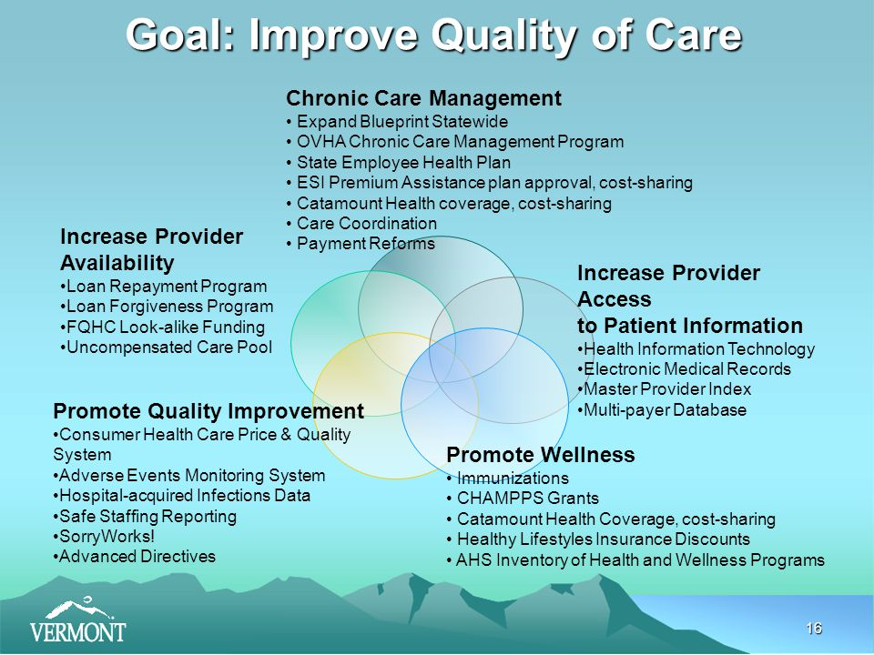 16 Goal: Improve Quality of Care Chronic Care Management Expand Blueprint Statewide OVHA Chronic Care Management Program State Employee Health Plan ESI Premium Assistance plan approval, cost-sharing Catamount Health coverage, cost-sharing Care Coordination Payment Reforms Increase Provider Access to Patient Information Health Information Technology Electronic Medical Records Master Provider Index Multi-payer Database Promote Quality Improvement Consumer Health Care Price & Quality System Adverse Events Monitoring System Hospital-acquired Infections Data Safe Staffing Reporting SorryWorks.