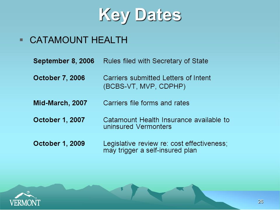 26 Key Dates  CATAMOUNT HEALTH September 8, 2006Rules filed with Secretary of State October 7, 2006Carriers submitted Letters of Intent (BCBS-VT, MVP, CDPHP) Mid-March, 2007Carriers file forms and rates October 1, 2007Catamount Health Insurance available to uninsured Vermonters October 1, 2009 Legislative review re: cost effectiveness; may trigger a self-insured plan