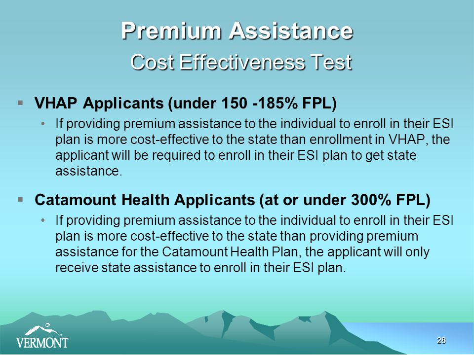 28 Premium Assistance Cost Effectiveness Test  VHAP Applicants (under 150 -185% FPL) If providing premium assistance to the individual to enroll in their ESI plan is more cost-effective to the state than enrollment in VHAP, the applicant will be required to enroll in their ESI plan to get state assistance.