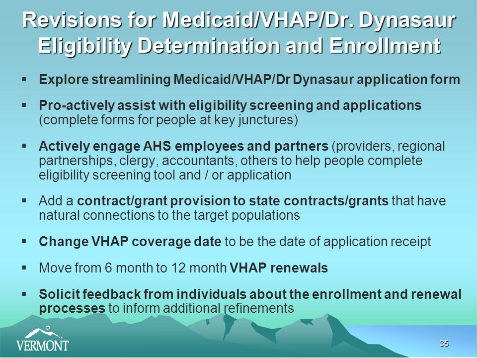 35 Revisions for Medicaid/VHAP/Dr.