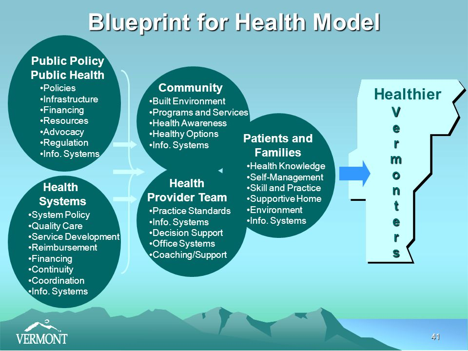 41 Public Policy Public Health Health Systems Community Health Provider Team Patients and Families Policies Infrastructure Financing Resources Advocacy Regulation Info.