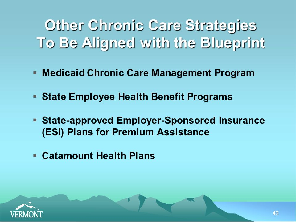 43 Other Chronic Care Strategies To Be Aligned with the Blueprint  Medicaid Chronic Care Management Program  State Employee Health Benefit Programs  State-approved Employer-Sponsored Insurance (ESI) Plans for Premium Assistance  Catamount Health Plans