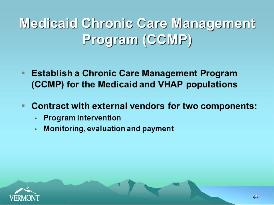 44 Medicaid Chronic Care Management Program (CCMP)  Establish a Chronic Care Management Program (CCMP) for the Medicaid and VHAP populations  Contract with external vendors for two components: Program intervention Monitoring, evaluation and payment