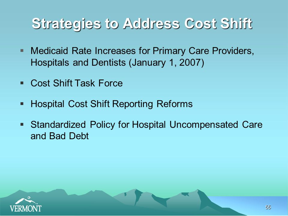 55 Strategies to Address Cost Shift  Medicaid Rate Increases for Primary Care Providers, Hospitals and Dentists (January 1, 2007)  Cost Shift Task Force  Hospital Cost Shift Reporting Reforms  Standardized Policy for Hospital Uncompensated Care and Bad Debt