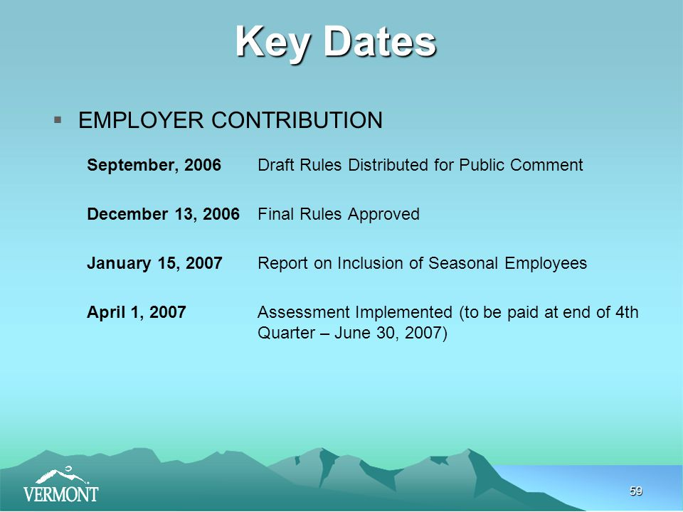 59 Key Dates  EMPLOYER CONTRIBUTION September, 2006Draft Rules Distributed for Public Comment December 13, 2006Final Rules Approved January 15, 2007 Report on Inclusion of Seasonal Employees April 1, 2007Assessment Implemented (to be paid at end of 4th Quarter – June 30, 2007)
