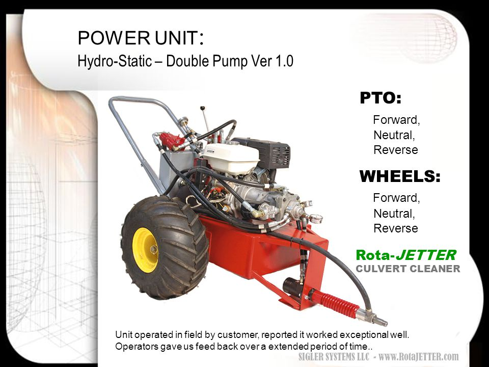 POWER UNIT : Hydro-Static – Double Pump Ver 1.0 PTO: Forward, Neutral, Reverse WHEELS: Forward, Neutral, Reverse Unit operated in field by customer, r