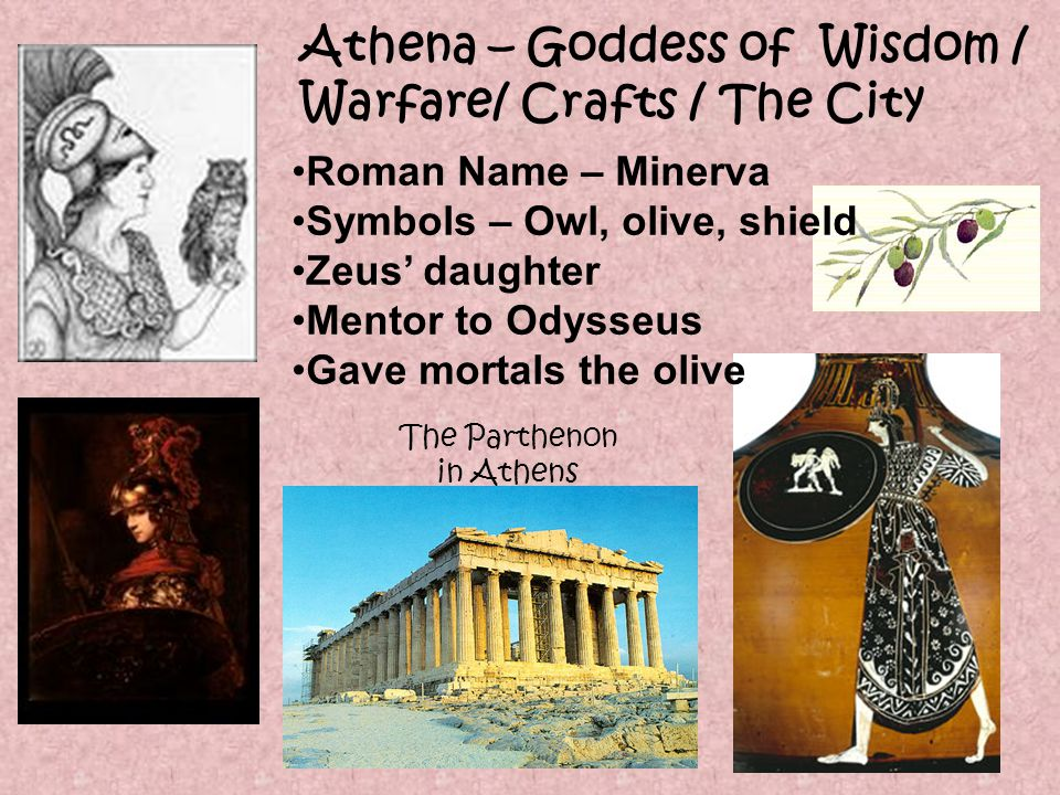 Hermes – God of Merchants / Good Luck / Thieves / Messages / Cross Roads Roman Name – Mercury Escorted the dead to the Underworld In more myths than any other god or goddess Symbols – winged hat, winged sandals, hazel-wood stick