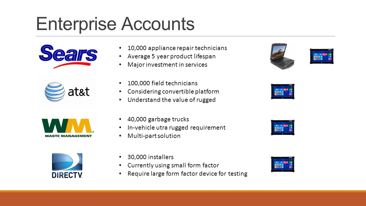Services Operated services under own P&L at Itronix Generated $23 in revenue during final year GP around 42% Sold Sears $15M 2 year service agreement End-to-end offering Extended warranties Uplift programs Help desk Troubleshooting Hot swap Shipping Battery replacement Field services Each rep carried separate services quota