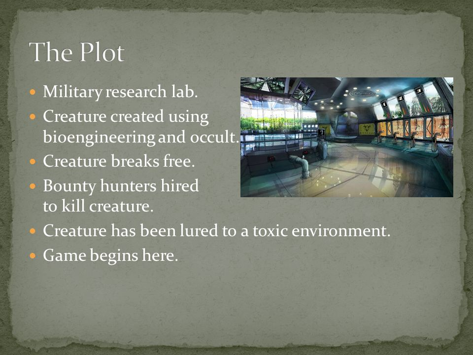 Military research lab.Creature created using bioengineering and occult.
