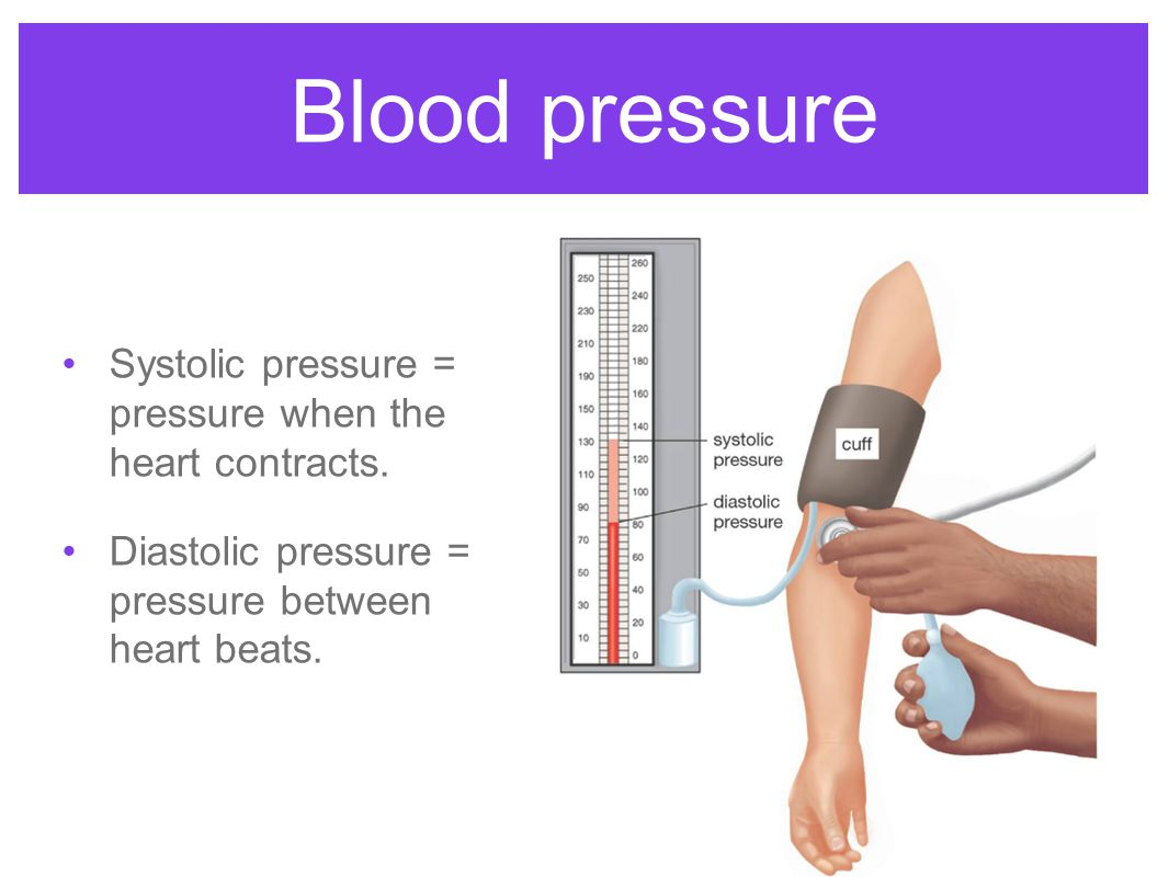 Blood pressure Systolic pressure = pressure when the heart contracts.