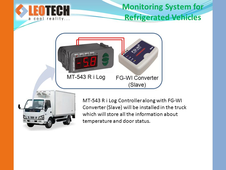 Monitoring System for Refrigerated Vehicles MT-543 R i Log Controller along with FG-WI Converter (Slave) will be installed in the truck which will store all the information about temperature and door status.