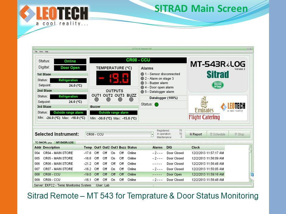 Sitrad Remote – MT 543 for Temprature & Door Status Monitoring