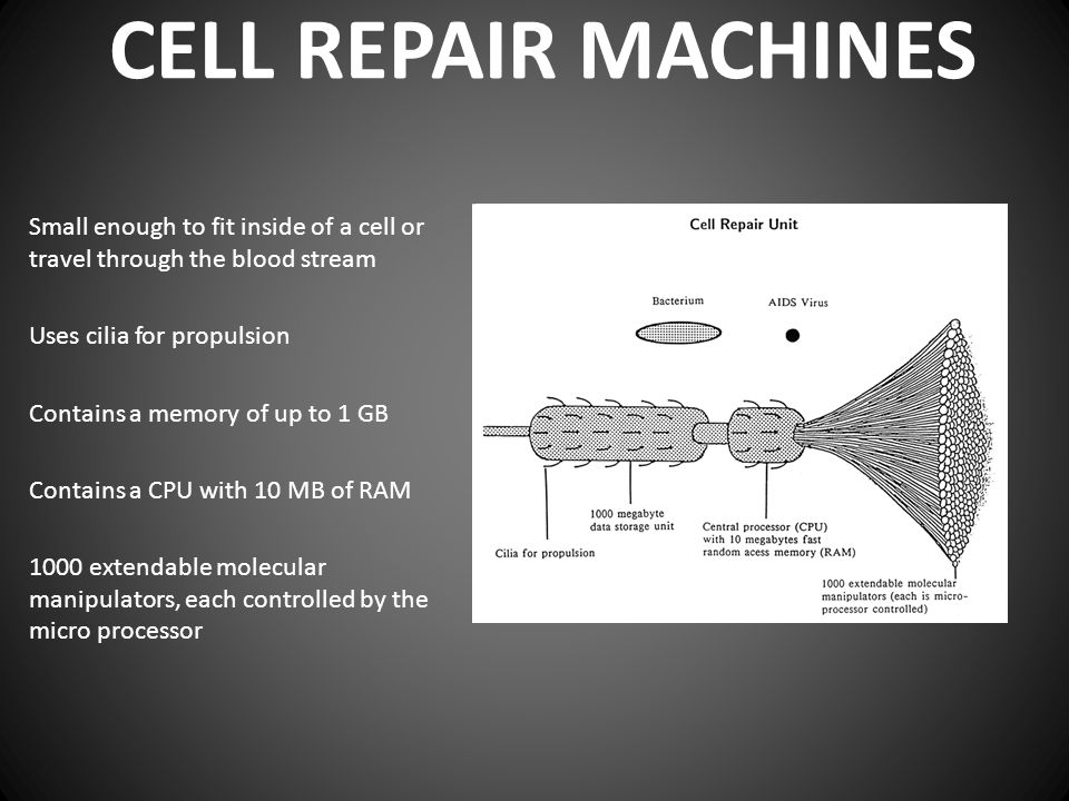 CELL REPAIR MACHINES Small enough to fit inside of a cell or travel through the blood stream Uses cilia for propulsion Contains a memory of up to 1 GB
