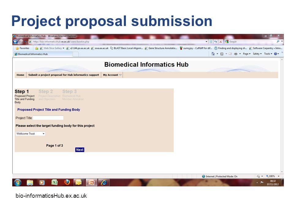 Project proposal submission bio-informaticsHub.ex.ac.uk