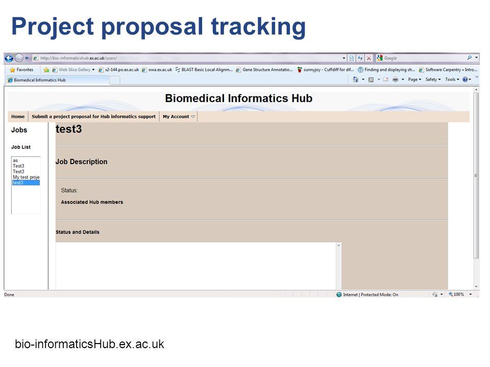 Project proposal tracking bio-informaticsHub.ex.ac.uk
