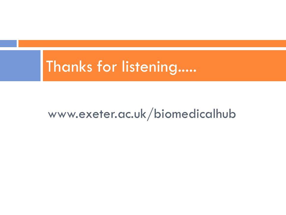 www.exeter.ac.uk/biomedicalhub Thanks for listening.....