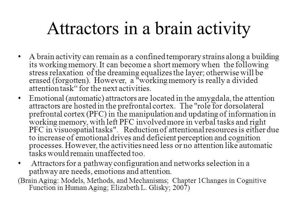 Memory in the brain; inputs entries in to the brain As static part of a mentation, memories like a real object in environment have location and time orientations.