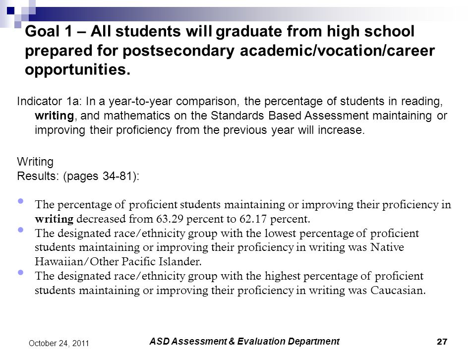 27 October 24, 2011 Goal 1 – All students will graduate from high school prepared for postsecondary academic/vocation/career opportunities.