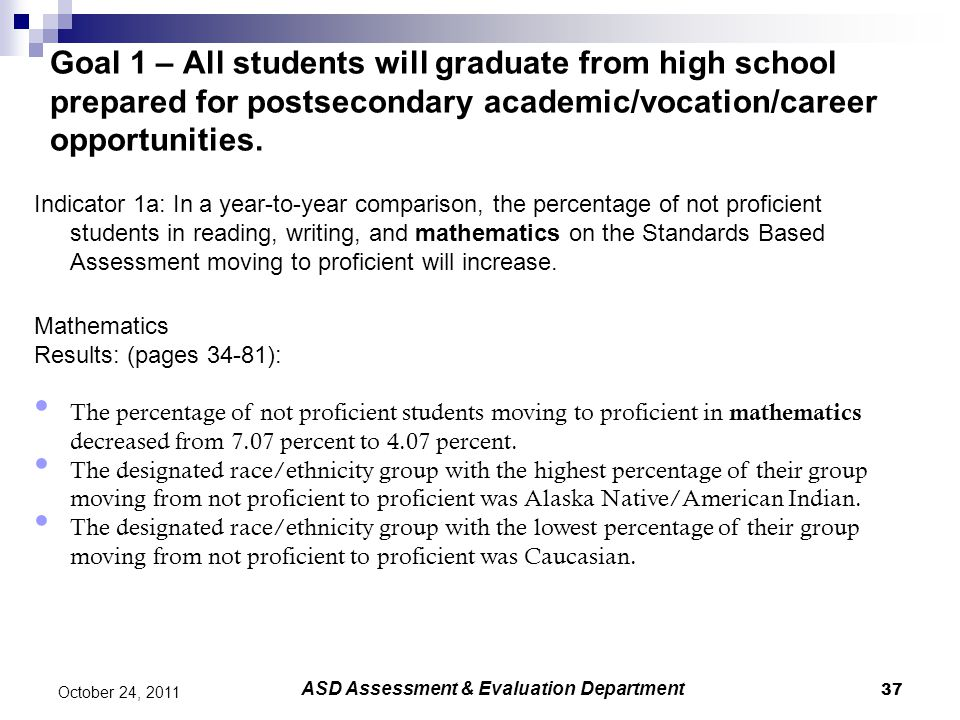 37 October 24, 2011 Goal 1 – All students will graduate from high school prepared for postsecondary academic/vocation/career opportunities.