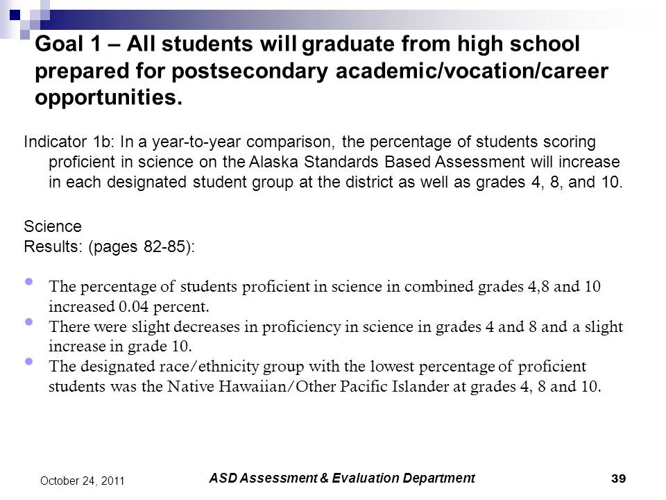 39 October 24, 2011 Goal 1 – All students will graduate from high school prepared for postsecondary academic/vocation/career opportunities.