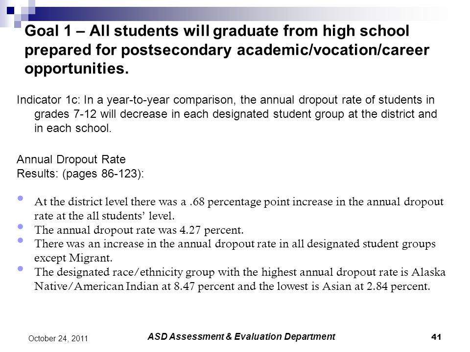 41 October 24, 2011 Goal 1 – All students will graduate from high school prepared for postsecondary academic/vocation/career opportunities.