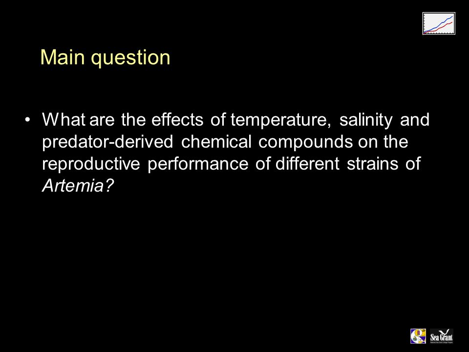 Main question What are the effects of temperature, salinity and predator-derived chemical compounds on the reproductive performance of different strains of Artemia?