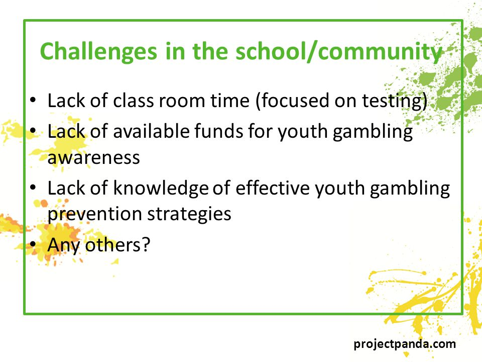 projectpanda.com Challenges in the school/community Lack of class room time (focused on testing) Lack of available funds for youth gambling awareness Lack of knowledge of effective youth gambling prevention strategies Any others