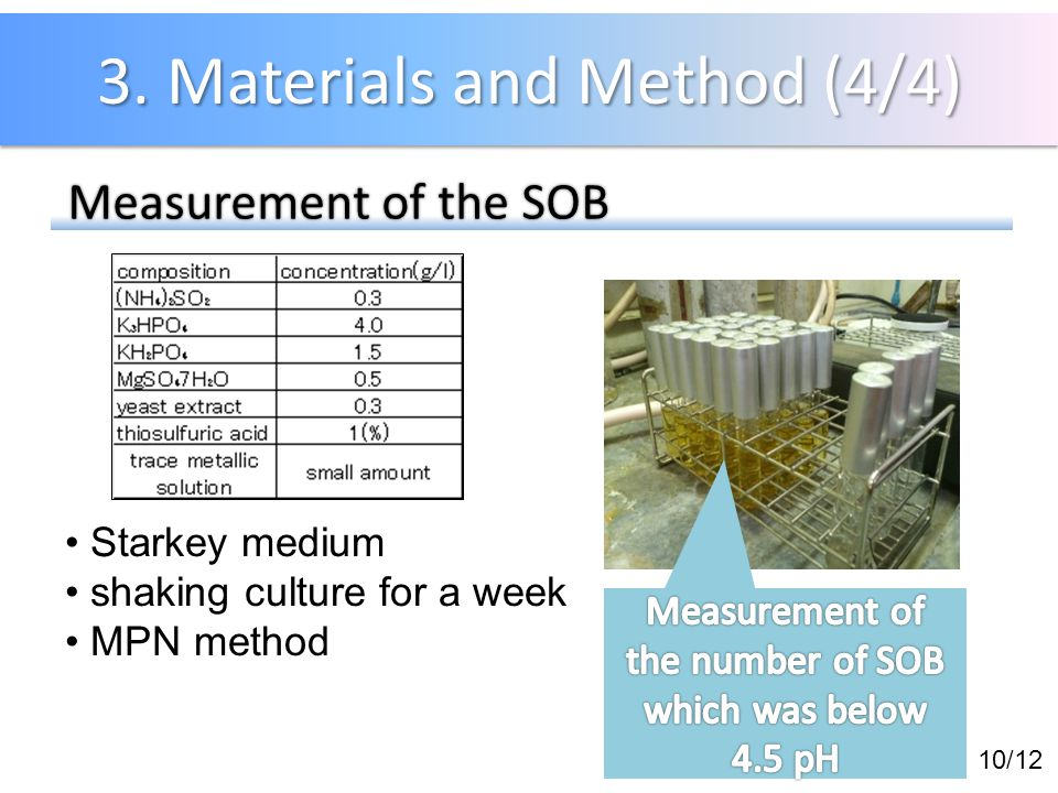 3. Materials and Method (4/4) 10/12 Measurement of the SOB Measurement of the SOB Starkey medium shaking culture for a week MPN method