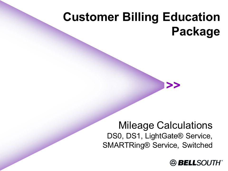 Customer Billing Education Package Mileage Calculations DS0, DS1, LightGate® Service, SMARTRing® Service, Switched